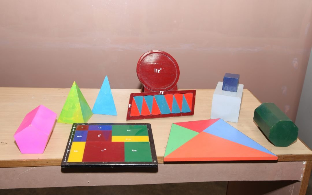Geometrical figures and models demonstrating geometrical concepts & formulae